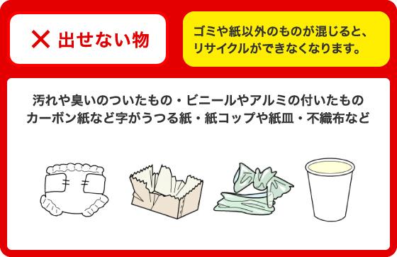 ×=汚れ・臭いのついたもの、カーボン紙、ビニール・アルミの付いたもの、紙コップ・紙皿、不織布